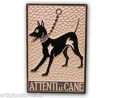 Piastrella Attenti al Cane in ceramica