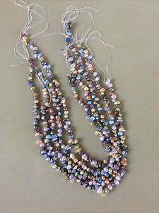5 Strands Fresh Water Pearls Pastel Shades Stringing Jewellery Necklace Beading