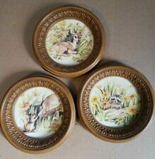 Homco Home Interior set of 3 Woodland Creatures Animals Round Wall Pictures