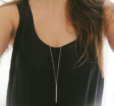 Halskette Anhänger silber Boho Kette lang Ring Stab Damen Valentinstag Geschenk