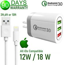 3,6,10ft USB Cable + 12W 18W 3-USB Cube Wall Charger For Apple iPad 4th 5th Air