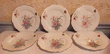 série 6 assiettes anciennes porcelaine Limoges décor fleurs papillon  fin 19ème