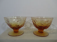 Morgantown Sherbet Amber Glass Crinkle Set of 6 Elegant Depression Glass Vtg