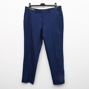 Brand New with Tags ALFRED BROWN Men Wool Trousers W36 L31 Blue Suit Pants