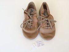 Dance Jazz Shoes Capezio Tan Tie Up Size 3W
