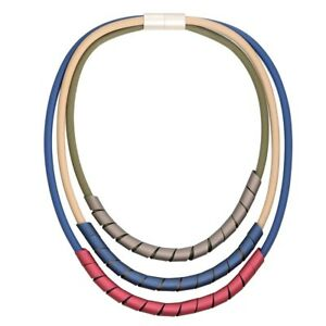 Multi Row Dark Blue Green Tan Rubber Cords bound With Metal Lagenlook Necklace