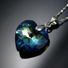 925 Sterling Silver Necklace Swarovski Elements Genuine AB Ocean Blue Heart Love