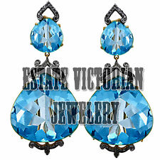 Studded Silver Artdeco Estate Earring Jewelry 2.86Ct Rose Cut Diamond Blue Topaz