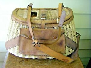 Woven Wood with Leather Pouch Fishing Creel