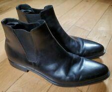 AUTHENTIC PRADA Men's 2TE 073 Black Leather Chelsea Shoe-Boots - Size 9
