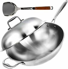 """Wok Pan with Lid - 13"""" Wide, 2mm Thick Stir Fry Frying Pan Stainless Steel –"""