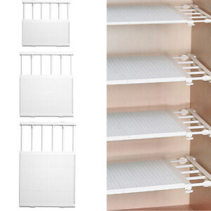 Adjustable Closet Cupboard Storage Organizer Shelf Extendable Divider Rack White