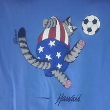 Vinatge B Kliban Cat USA Soccer Futbol Crazy Shirts Hawaii Size Medium 2 Sided