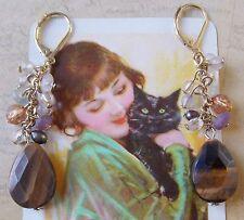 Vintage Style Tiger Eye & Gemstone Women's Dangle Earrings