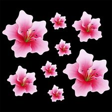 Pink Lily flower set of 8 - car sticker decal Quality vinyl stickers