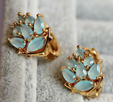 18K Yellow Gold Filled - Flower Opal Blue Topaz Zircon Gemtone Cocktail Earrings