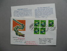 JAPAN, cover FDC to the Netherlands 1976, ao block of 4 year of the snake
