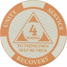 Poker Chip Style Sobriety Chips - Newcomer Coins - 4 Months Orange