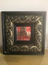 Home Decor Square Gold Relief Foil Framed Wall Mount Mirror, 13in x 13in