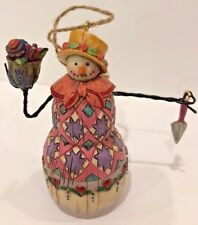 Jim Shore 2003 Gardening Gardener Snowman Christmas Tree Ornament 4�