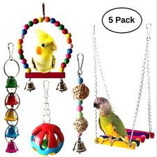 5Pcs/Set Parrot Toy Bird Cage Bell String Swing Hammock Parrot Chew ToyJCDD