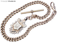 "Uhrenkette Antik  ""Knopflochsteg und Anhänger"" 375er Rotgold 900er Silber ..."