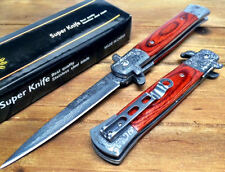 "8.75"" Italian Milano Stiletto Damascus Spring Assisted Open Pocket Knife -LWRD"