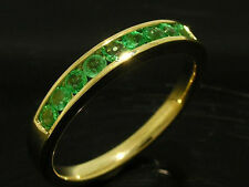 R165 Genuine 9ct SOLID Gold NATURAL Emerald ETERNITY Wedding Band Ring size M