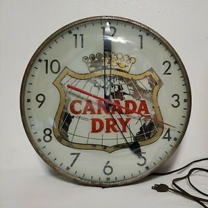 VINTAGE 60's CANADA DRY SODA LIGHTED PAM CLOCK ADVERTISING