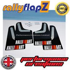 rallyflapZ MITSUBISHI EVO 4 (96-98) Mud Flaps Black Ralliart White (R&O) 4mm PVC