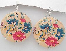 "Wood Dangle Earrings Colorful 2.8"" long Hand-Painted Flowers"