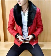 Mens Leather Fur Collar Winter Jacket Thick Fur Lined Biker Coat Outwear Youth P