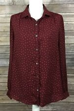 Lands End Womens Button Down Sheer Blouse 12 Maroon Red Dressy Casual EUC 161