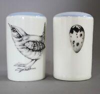 LAURA ZINDEL handmade ceramic porcelain wedgewood bird egg salt & pepper shakers