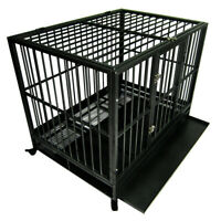 """Heavy Duty Dog Crate Large Kennel Cage Metal Playpen W/Wheels & Tray 42"""""""