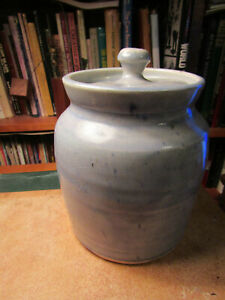 North Carolina Pottery Blue Cookie Jar / Canister with Lid signed B B Craig