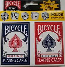 Bicyle 808 Rider Back (Blue & Red) POKER PLAYING CARDS with 5 Bonus Dice 2 Decks