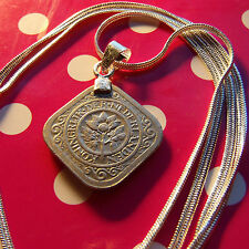 """Dutch Netherlands Classic Coin Pendant on a 30"""" .925 Sterling Silver Snake Chain"""