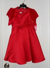 NEW Girl's Christmas Dress size 4, Muneca, red satin, sash, jacket #529