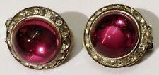 boucles d'oreilles clips bijou vintage verre rouge rubis cristaux diamant * 4150
