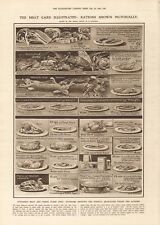 1918  ANTIQUE PRINT WW1 -MEAT CARD ILLUSTRATED -RATIONS SHOWN PICTORIALLY