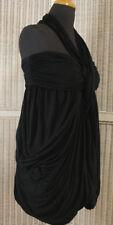 ALLSAINTS Cachao Dress UK14 Grecian Draped Stretch Black Mini Bubble Short Dress