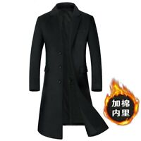 Winter Men's Wool Blend Jacket Outwear Quilted Trench Coat Thick Warm Business