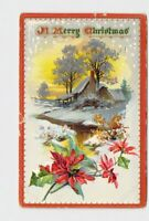 PPC POSTCARD MERRY CHRISTMAS SNOW COVERED HOME POINSETTIA TUCK & SONS EMBOSSED