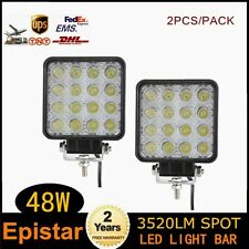 2X 48W Spot Square LED Light Bar Driving Fog SUV 4WD UTE Tractor Boat Offroad