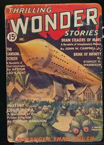 THRILLING WONDER STORIES December 1936 Science Fiction Pulp Magazine