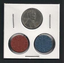 Original Wwii 1943 Steel Penny + Blue & Red Food Ration Tokens - World War Ii