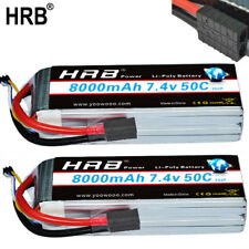 2pcs 7.4V 8000mAh 50C LiPo Battery 2S2P Traxxas E-Revo E-Maxx Slash Stampede 4x4