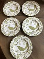 Pier 1 Bird Plates Set Of 5 Lunch Salad Dessert Size 8 1/4 Inch Green And White