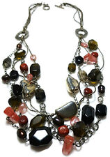 Smoky Quartz Pearl Chain Necklace Sterling Silver Tigers Eye Rutilated Pink